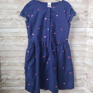 Carters Girls Blue Khaki Dres with Heart Print